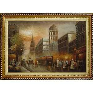 Early Nineteenth Century American Street Scene Oil Painting, with