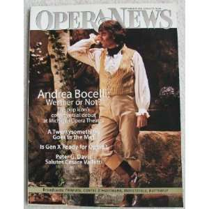 Opera News Magazine. February 2000. Single Issue Magazine