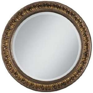 Antique Gold Floral Relief 25 3/4 Wide Round Wall Mirror