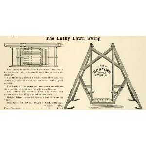 1912 Ad Antique Wooden Lawn Swing Garden Luthy Company Peoria Outdoor