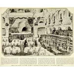 Banquet Hall Hotel Astor   Original Halftone Print
