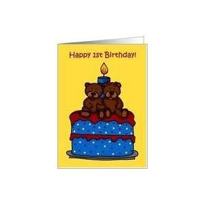 boy/girl twin bears on a 1st birthday cake Card: Toys & Games
