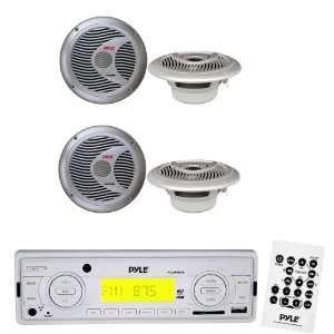 Marine Radio Receiver and Speaker Package   PLMR88W AM/FM MPX IN Dash