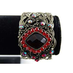 Brass Tone Ruby Red Crystal Rhinestone Gem Cuff Bangle Bracelet
