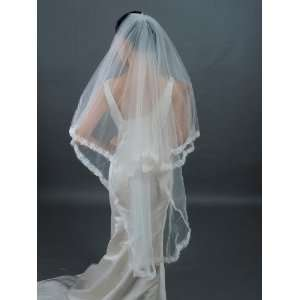 Artwedding 1T Waltz Wedding Veil with Pearl and Lace Ivory