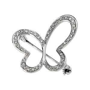 14K White Gold 1/4Cttw Diamond Brooch CleverEve Jewelry