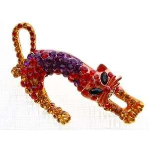 Weird Cat Crystal Rhinestone Crouching Fashion Brooch Pin Jewelry