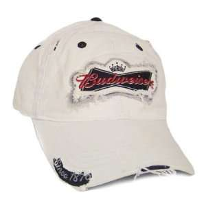 BUD BUDWEISER BEER WHITE HAT CAP RIPPED PATCH COTTON