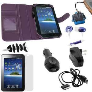 GTMax Purple Executive Leather Wallet Case + Clear LCD