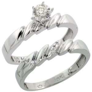 com 10k White Gold 2 Piece Diamond Engagement Ring Set, w/ 0.10 Carat