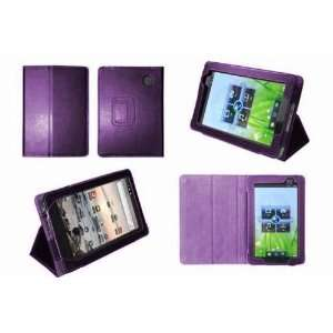 Purple Genuine Premium Leather Flip Carry Case With Adjustable Stand