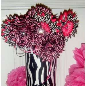 Zebra Hot Pink Flower centerpiece