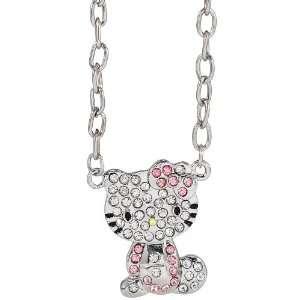 Hello Kitty rhinestone charm necklace   pink bow Arts
