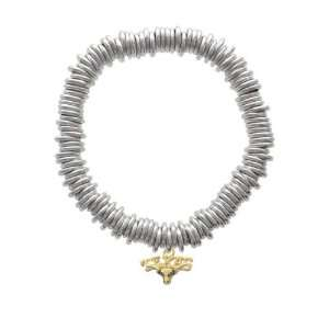Small Texas Longhorn Gold Plated Charm Links Bracelet