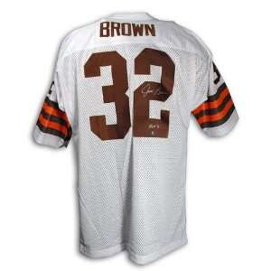 Autographed Jim Brown Cleveland Browns Throwback White Jersey