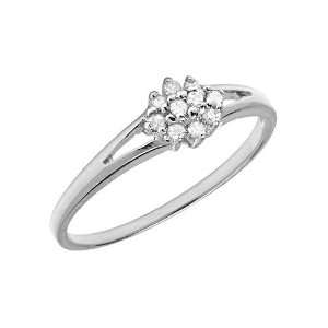 10K White Gold Diamond Cluster Ring (Size 5.5) Jewelry