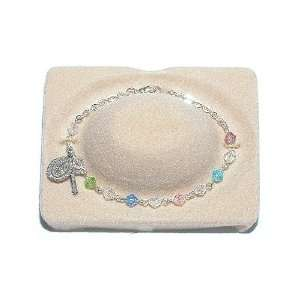 Multi Color Crystal Rosary Bracelet   5mm Jewelry