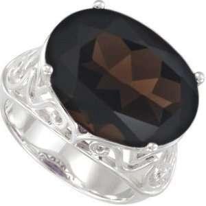 Sterling Silver Filigree Smoky Quartz Ring, Size 1 Jewelry