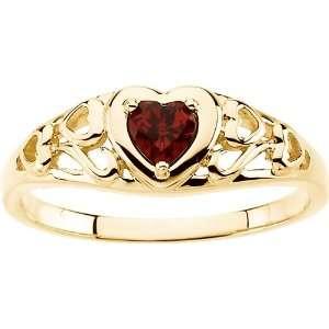 14 Karat Yellow Gold Heart Shaped Mozambique Garnet Ring