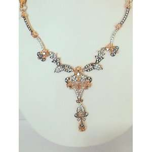 22k Gold Plated Pure Silver Pendant Set with CZ and Black and White