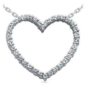 14K White Gold .50CT Diamond Heart Pendant Necklace Jewelry