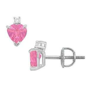 Diamond and Pink Sapphire Stud Earrings  14K White Gold