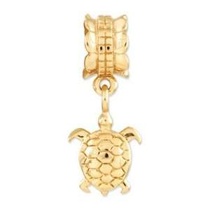 Sterling Silver Gold plated Reflections Turtle Dangle Bead Jewelry