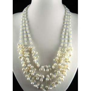 8mm 3 Stands White Freshwater Pearl Necklace J023