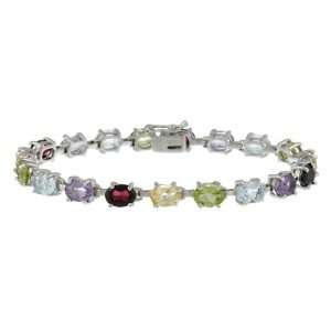 Sterlilng Silver Multi Color Gemstone Tennis Bracelet Jewelry