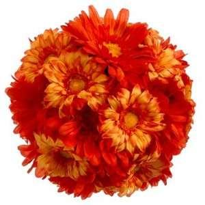 7 Silk Gerbera Daisy Kissing Flower Ball  2 Tone Orange