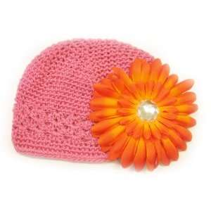 Hat Fits 0   9 Months With a 4 Orange Gerbera Daisy Flower Hair Clip