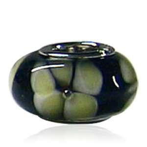 Murano Glass Bead Yellow Green Flower Fit Pandora Bead Charm Bracelet