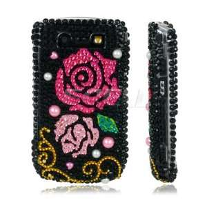 Ecell   PINK & RED ROSES CRYSTAL BLING CASE FOR BLACKBERRY