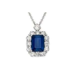 2 7/8 Carat Sapphire and Diamond 18K White Gold Pendant Jewelry