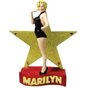 Marilyn Figurine in Black Leotard with Gold Hollywood Star Backdrop