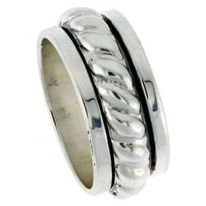 Silver 7/16 (11 mm) Wide Rope Design Spinner Ring size 8: Jewelry