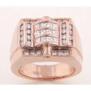 14KT. ROSE GOLD MENS DIAMOND RING 1.65cttw.   8.5