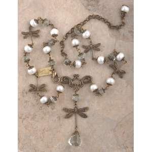Art Deco Dragonfly Green Amethyst Necklace Earrings Set