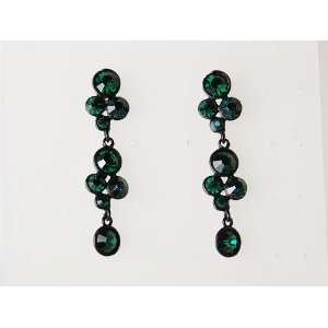 Emerald Green Crystal Orb Abstract Cluster Fashion Flower Dangle Drop