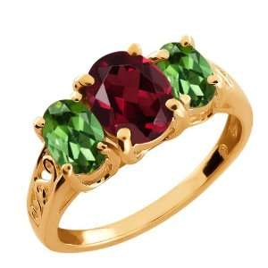 Red Rhodolite Garnet and Green Peridot 14k Rose Gold Ring Jewelry
