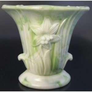 Akro Agate Light Green Slag Glass Lily Vase