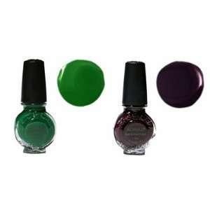 2x Konad Special Polish for Nail Art Design Dark Purple +Green 11 Ml