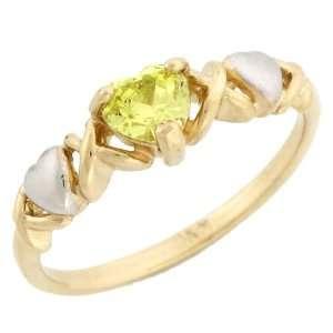 tone Gold Heart Shaped Yellow CZ Novemeber Birthstone Ring Jewelry