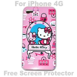 Hello Kitty Case Hard Case Cover for Iphone 4g   C + Free