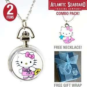 Classic Hello Kitty Pendant Locket Pocket Watch Necklace Chain Jewelry
