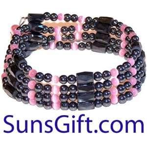 Magnetic Hematite Bracelet Necklace PINK BEADS CAT EYES