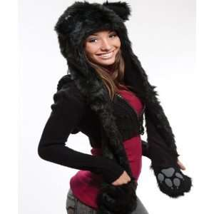 Black Cat Full Animal Hood Hoodie Hat Faux Fur 3 in 1 Everything Else
