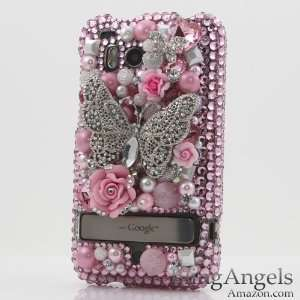 Crystal Bling Pink Butterfly Rhinestone Jeweled Case Cover for HTC