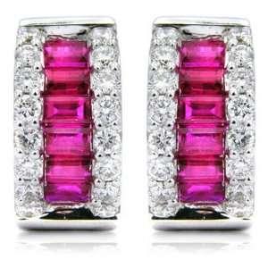 Diamond & Ruby 18k White Gold Hoop Huggie Earrings Jewelry