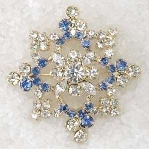 Christmas Jewelry Snowflake Shaped Blue & Clear Gem Holiday Pins Home